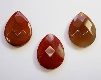 Stone Pendants, Drop Pendant, Brown Stone, Faceted Tear Drop, Red Stone, Carnelian, Polished Stone, Assorted Shapes, Rocks, DIY, BS118