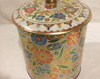 1970s Daher Tin England Wild Flower Lidded-Kitchen Tin Container
