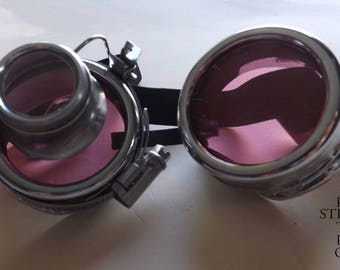Steampunk Gothic cyber goggles lenses AVIATOR sunglasses Goggles pink