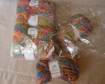 Gorgeous 6 balls multicolored acrylic and nylon 50 grams