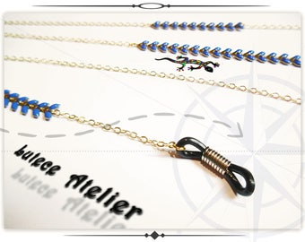 Eyeglasses chain COB gold and Navy Blue cord