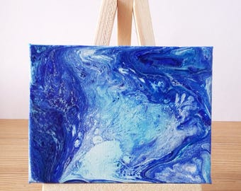 "Abstract Art Acrylic Painting Original | ""Waterfall"" 7cm x 9cm Canvas With Easel"