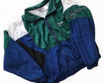 REEBOK Vintage 90s Colorblock Windbreaker Jacket Men's Large