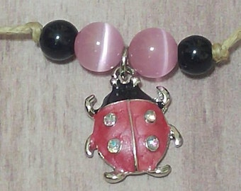 Lady Bug Bracelet, Garden Lover, Lady bug charm, Beaded Bracelet, Pink and Black glass beads, corded bracelet, lady bling