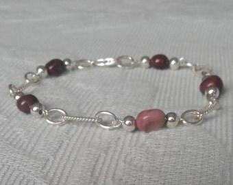 Natural Mookaite Jasper & Sterling Silver Chain Bracelet