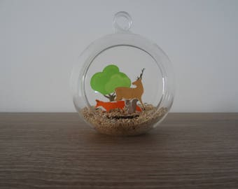 Hanging / decoration to hang or lay forest glass ball