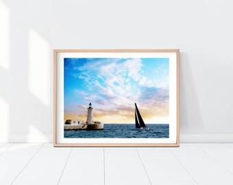 Malta Watercolor Landscape Printable Art, Landscape Print, Seascape, Lighthouse Print, Sail Boat, Instant Download, Wall Art, Watercolor Art