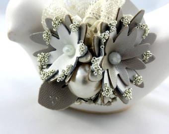"Head jewel headband leather and lace ""Nasturtium"""