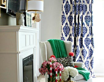 High Quality Blue Ikat Curtains Drapes Panel Cotton Linen Custom Length Width Blue White  IKAT Pleated DURALEE Shade