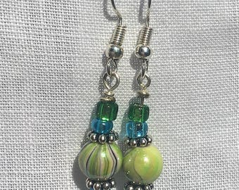 Green marble lampwork acrylic bead drop earrings on a silver plated fish hook ear wire