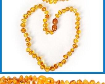 Authentic Baltic Amber Baby Teething Necklace and Bracelet SET - Honey