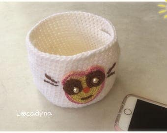 Small basket tray with Crochet white case with alien Decoration - nursery child or teenager gift of birthday-handmade