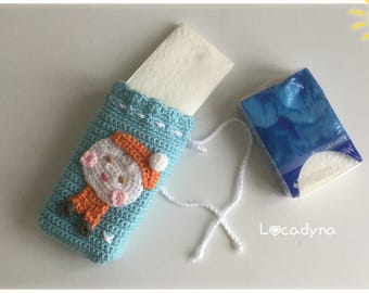 Case with handkerchiefs for child-Crochet snowman Orange acrylic blue and white-sliding practice clean and Fun-Hand Made link closure