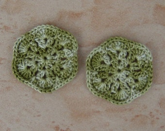"set of 2 Avocado green flowers 6 petal crochet style ""African flower"""