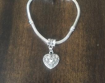 Heart, Snake Chain charm Bracelet, Jewelry, heart Charm Bracelet, Snake chain Bracelet