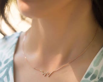 14k Gold Diamond Necklace - Gold Necklace with Diamond Available in 14k Gold, White Gold or Rose Gold