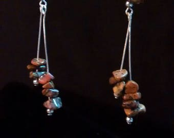 Rare Agate earrings.  Believed to be Fairburn Agate, found primarily in the Black Hills of South Dakota.