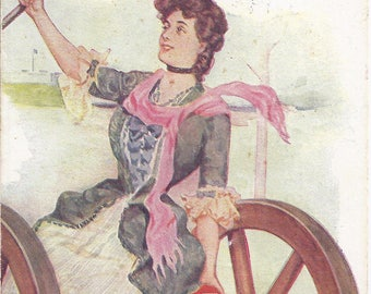 Instant Digital Download of Vintage Postcard from about 1907: The Girl Behind the Gun - Pretty Girl sitting on Cannon - Rev War
