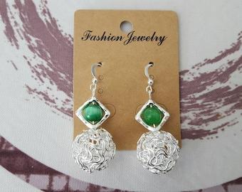 aluminum ball, green cat's eye and silver bead earrings