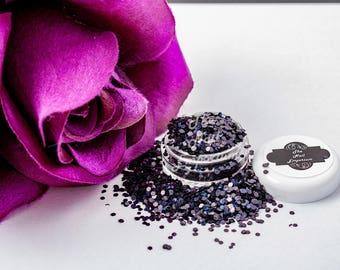 Black Holographic Glitter for Nail Art