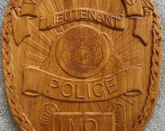 Custom wooden police badge