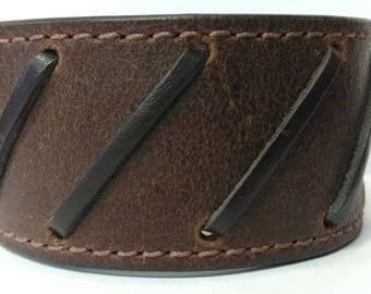 Genuine Leather Cuff Bracelet, Chunky Super Wide, Steam Punk, Cover Wrist Tattoo, Stitched, Johnny Depp, Brown, Unisex. (C017)