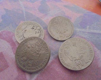 Set of 4 Vintage silver plated 23 mm buttons