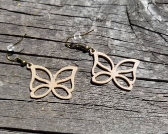 Wood, Nature Inspired, 3D Printed Butterfly Earrings