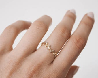 Branch cz ring, stacking ring, Leaf ring, delicate ring, delicate gold ring, dainty jewelry, R087