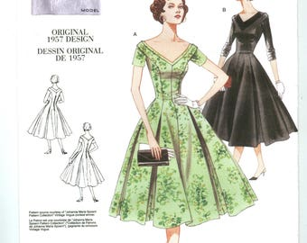 V2903 Vogue Vintage Model reproduction of original 1957 design - Misses Fitted Dress with pleats - NEW UNCUT Sewing pattern Size D or FW