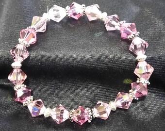 pink swarvoski crystal stretch bracelet