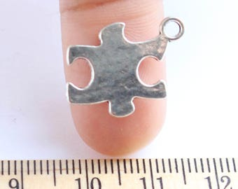 10 Puzzle Piece Charms- Antique Silver - EF00253