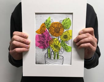 Floral  Bouquet Drypoint Chine Colle Print with Mount