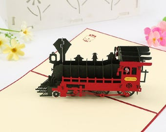Handmade 3D pop up popup card steam train origami kirigami Vintage birthday father's day mother's day Easter anniversary card gift him her