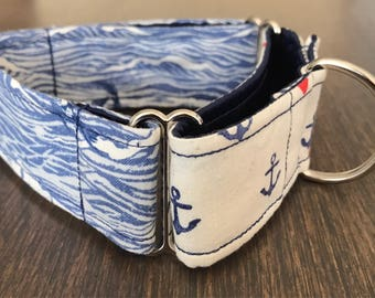 1.5 Inch Martingale Dog Collar - Anchors and Waves - Ready to Ship!
