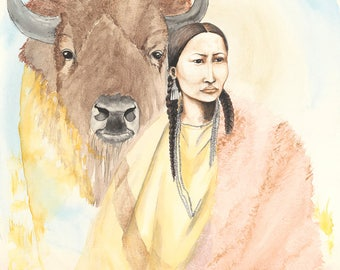 Buffalo Woman Original Watercolor Painting on Arches Paper