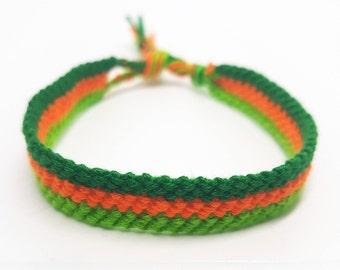 Zipper style friendship bracelet - Green/orange