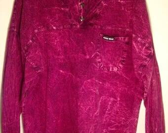 Vintage 80s Acid Wash Sweatshirt / Ezze Wear Outdoor Pullover M-L