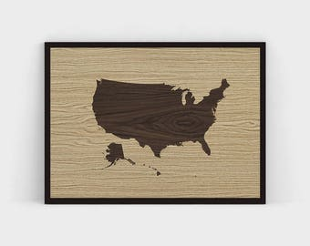 Wooden Usa Map Etsy - Us brown map with states