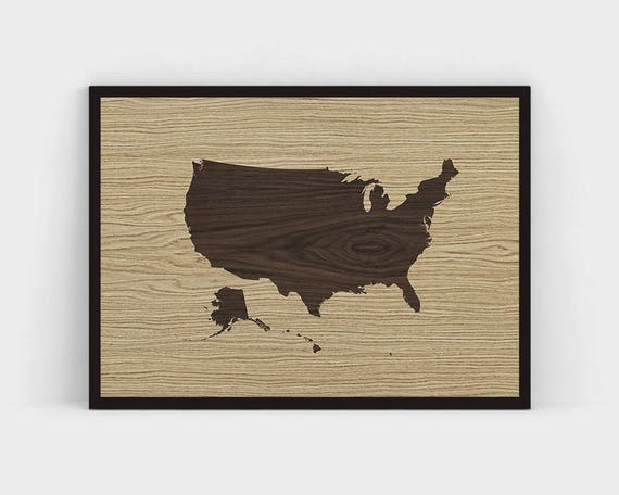 Wood United States Map Printable Wooden USA Map Vintage Wall