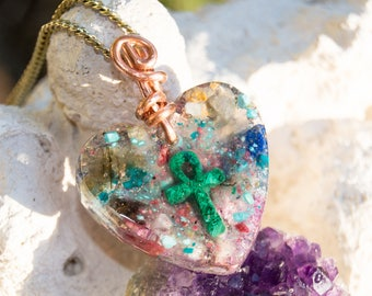Malachite Ankh Heart Orgone Pendant Necklace - Life Force Generator - Reiki Infused - 528hz - Crystal Artisan Jewelry