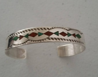 1970's Artist Stamped Sterling Silver Cuff Bracelet with Coral and Turquoise Inlays