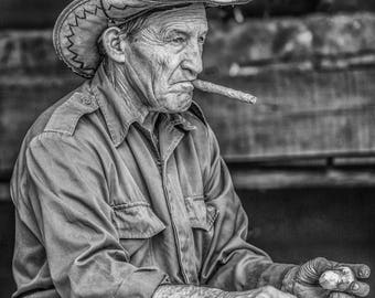 Cuban Farmer Monochrome Photo Print
