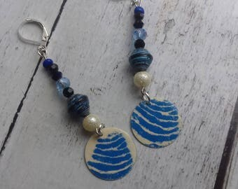 We go, ivory and blue enameled brass blue paper bead earrings and beads