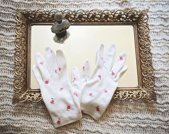 Lovely Early 60's White w/ Pink Flower Short Gloves/Small