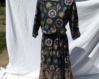 Vintage 1990's Cotton Indian Skirt and Top Set Boho Mirrored and Embroidery