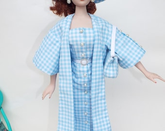 Let's go Shopping - OOAK outfit for Gene and Friends - dress, coat, hat, purse