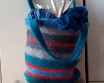 Bag STRIPES grey teal light blue orange
