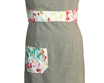 Taupe pencil dress with colourful detailing