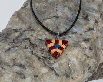 Wood Pendant with Lapis Inlay,  Triangular Shaped Wood Matrix, Reversible Pendant